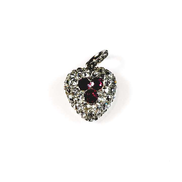 Antique ruby and diamond heart pendant