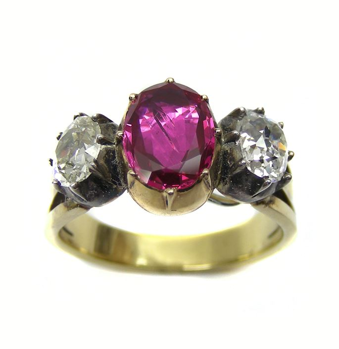 Antique ruby and diamond three stone ring | MasterArt