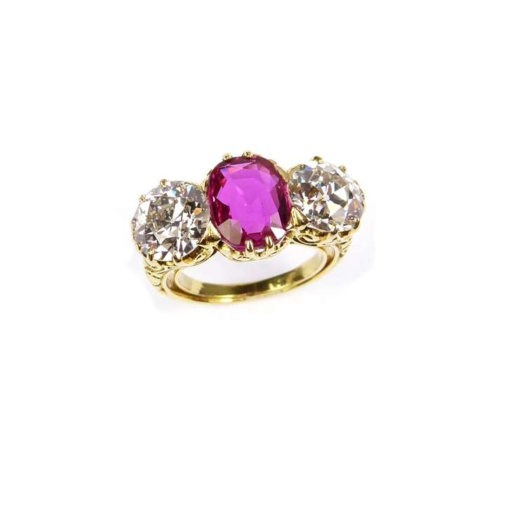 Antique ruby and diamond three stone ring