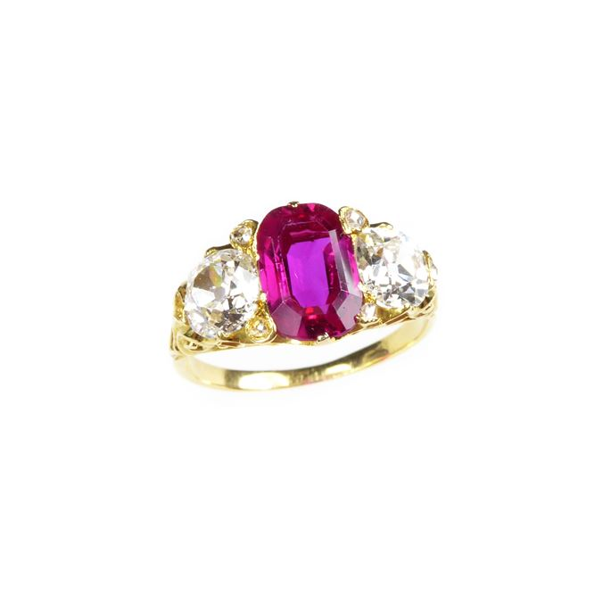 Antique ruby and diamond three stone ring, centred by an oblong cut Burma ruby | MasterArt