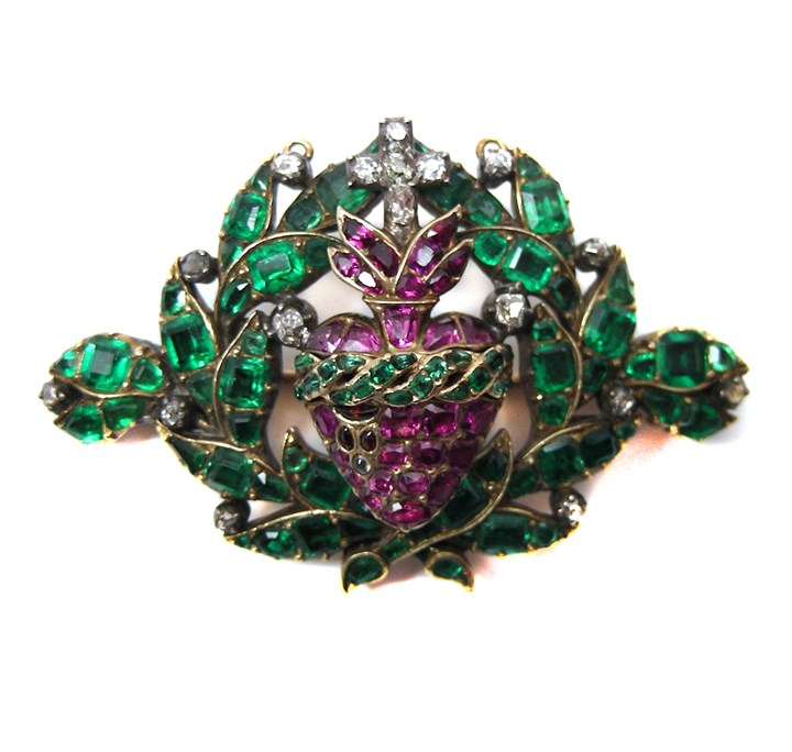 Antique ruby, emerald and diamond openwork bleeding heart brooch