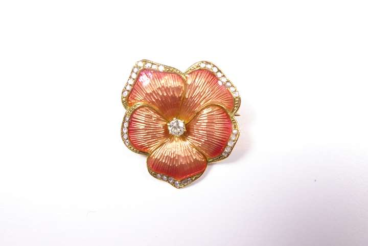 Antique salmon-coloured enamel, diamond and rose diamond and diamond pansy brooch