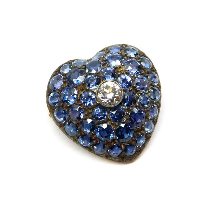 Antique sapphire and diamond cluster heart pendant