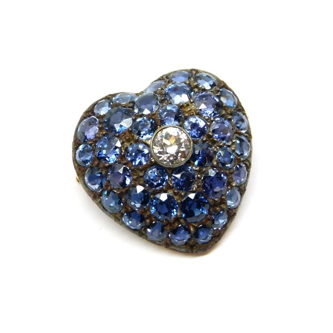 Antique sapphire and diamond cluster heart pendant | MasterArt