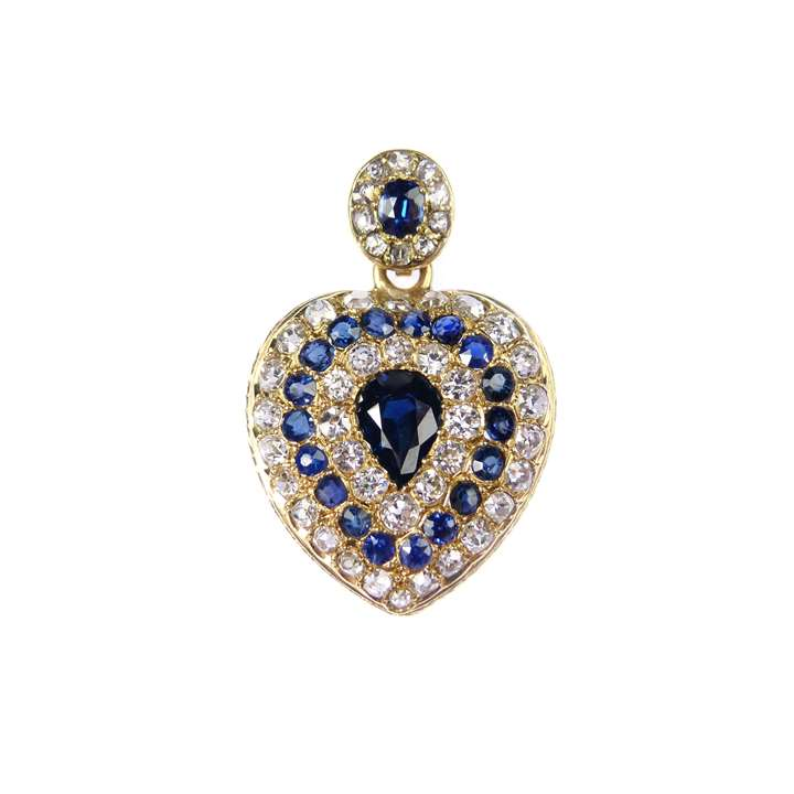 Antique sapphire and diamond heart locket