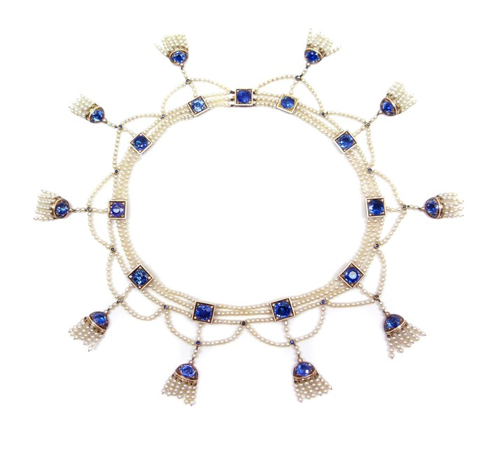 Antique sapphire and seed pearl fringe necklace