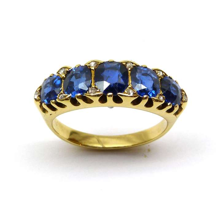 Antique sapphire five stone graduating half hoop ring
