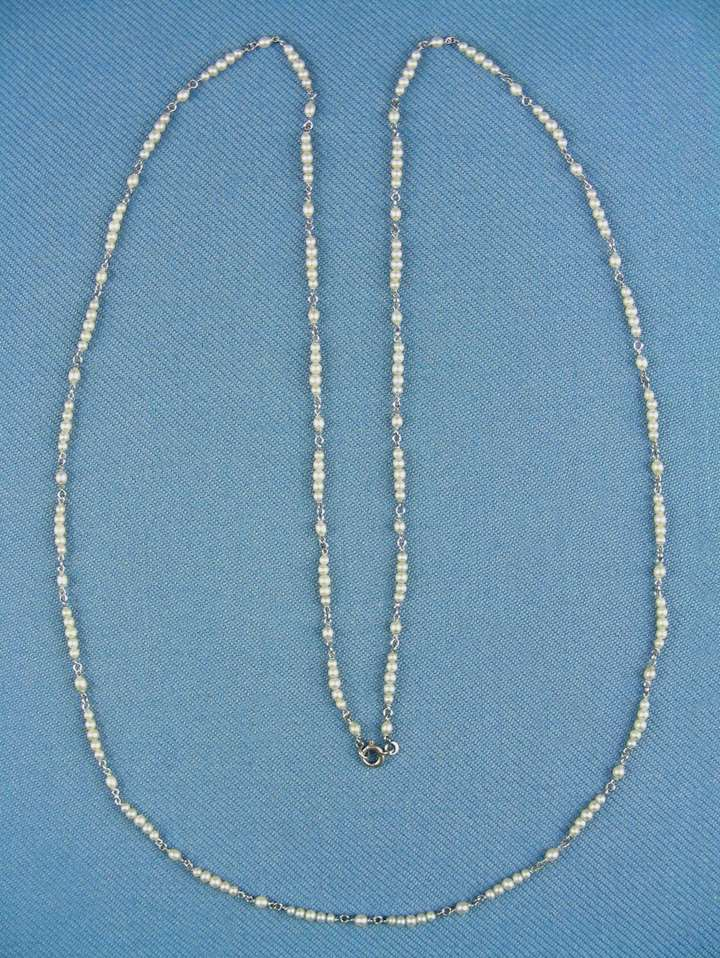 Antique seed pearl chain necklace