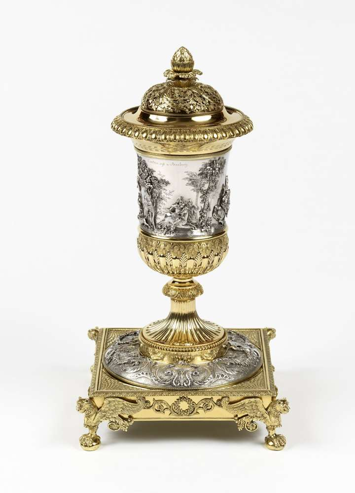 Antique silver and silver-gilt cup and cover on stand