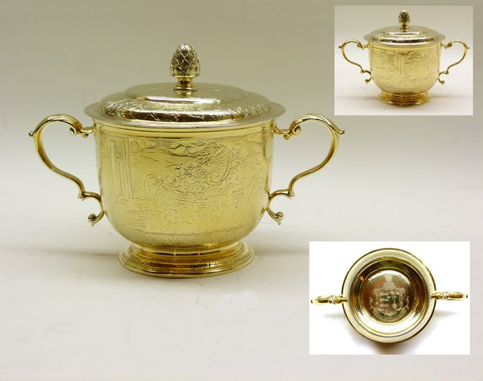 Antique silver gilt two handled engraved porringer and cover | MasterArt