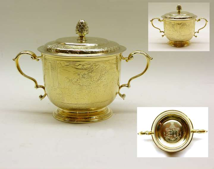 Antique silver gilt two handled engraved porringer and cover
