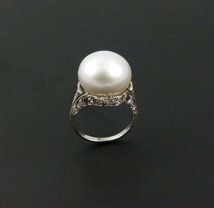 Antique single stone pearl and diamond ring | MasterArt