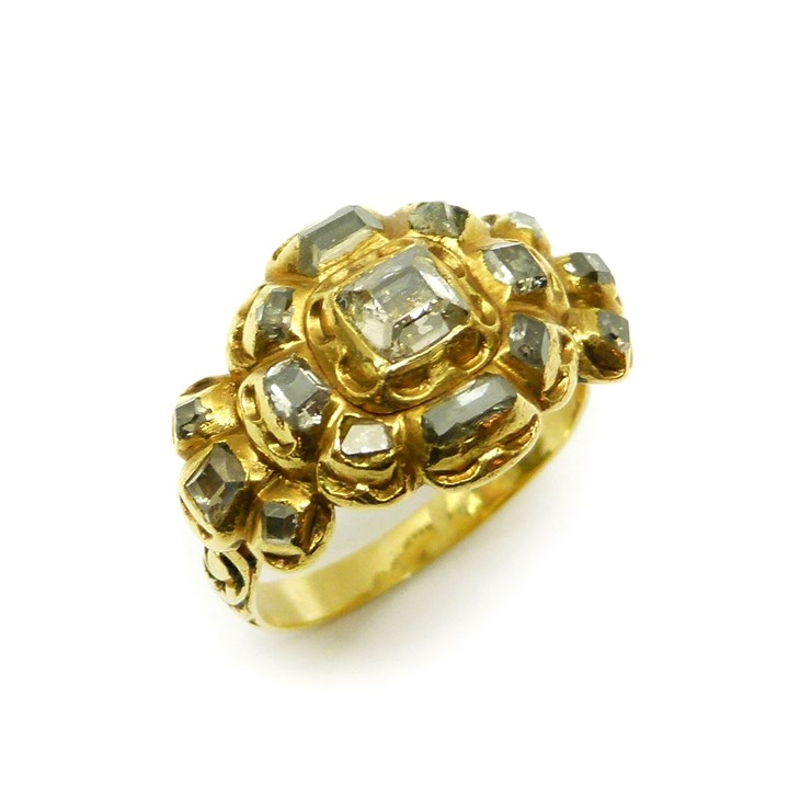 Antique table cut diamond and gold cluster ring
