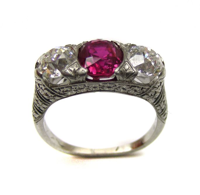 Antique three stone ruby and diamond ring | MasterArt