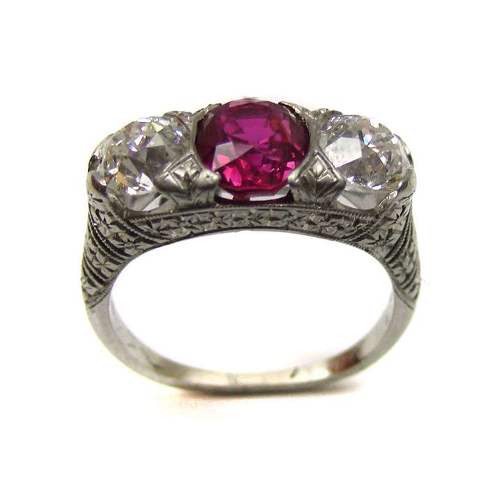 Antique three stone ruby and diamond ring