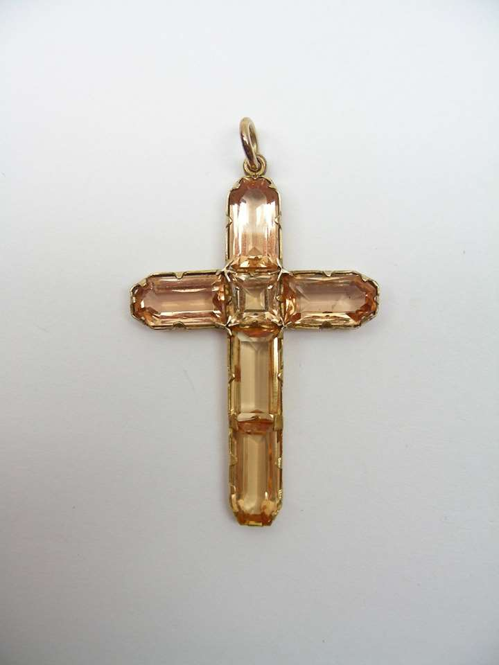Antique topaz cross pendant