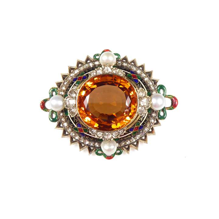 Antique topaz, diamond, pearl and enamel oval cluster brooch