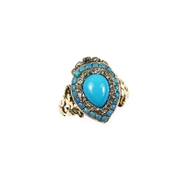 Antique turquoise and diamond heart-and-crown target cluster ring
