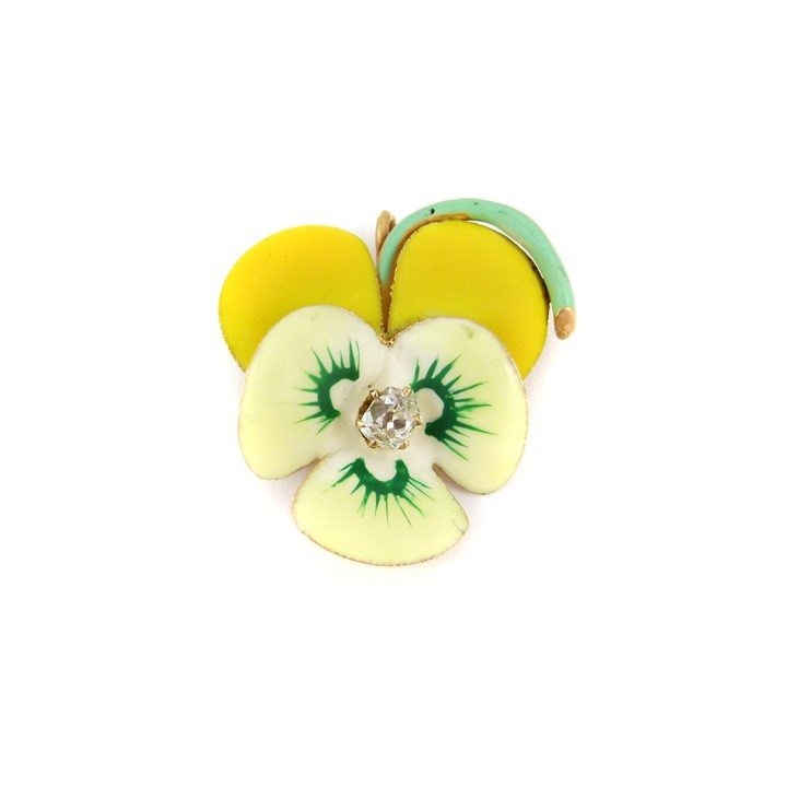 Antique two colour yellow enamel and diamond pansy brooch
