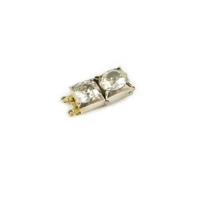 Antique two stone cushion diamond clasp | MasterArt