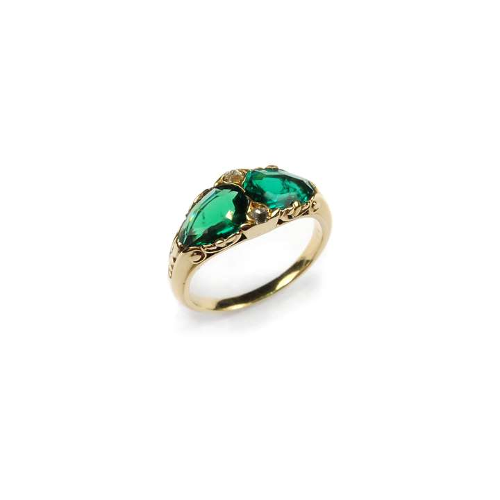 Antique two stone emerald ring