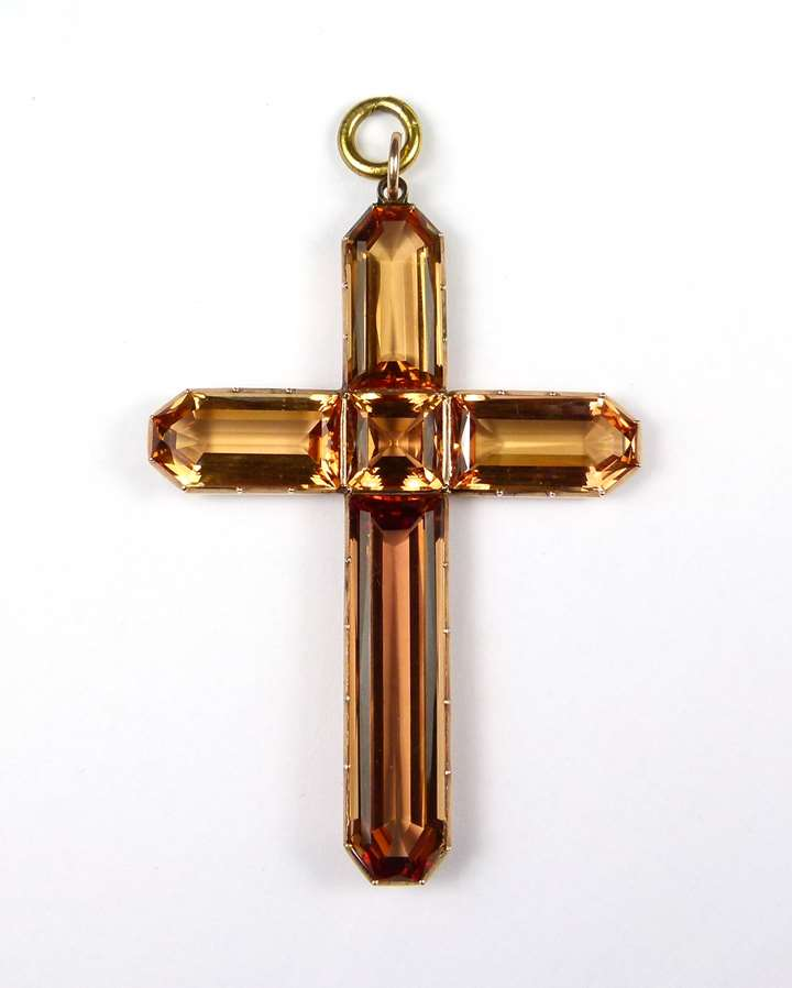 Antique unusually large topaz cross pendant