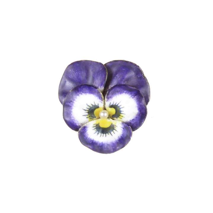 Antique violet and white enamel, diamond and 14ct gold pansy brooch by Krementz