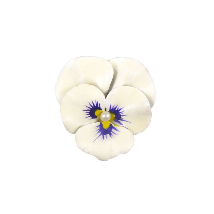 Antique white enamel and diamond pansy brooch