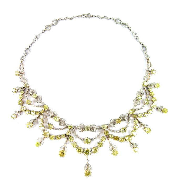Antique yellow and white diamond and platinum garland necklace | MasterArt