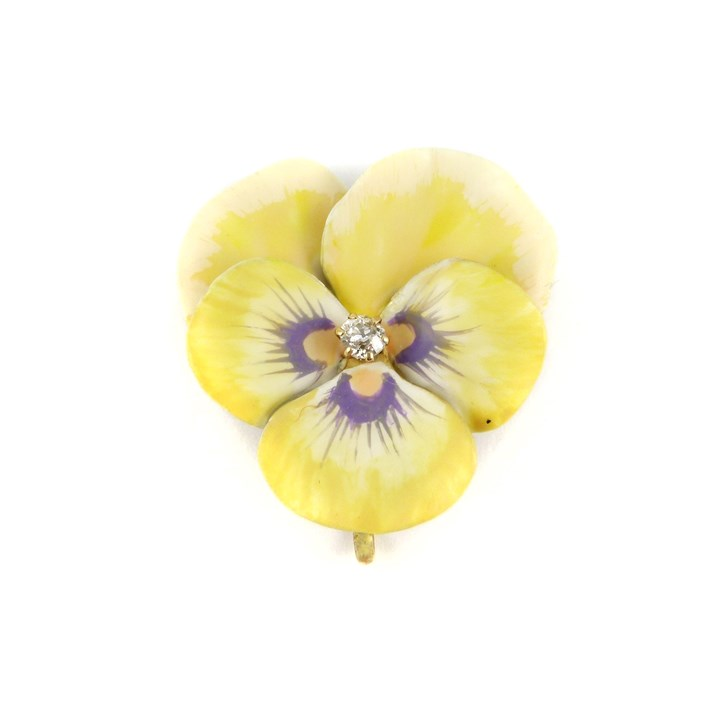 Antique yellow enamel and diamond pansy brooch