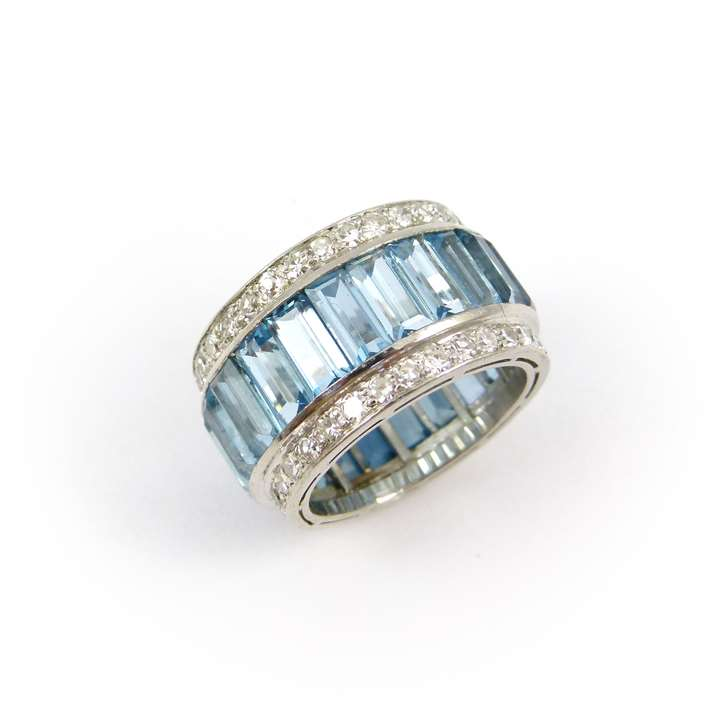 Aquamarine and diamond band ring