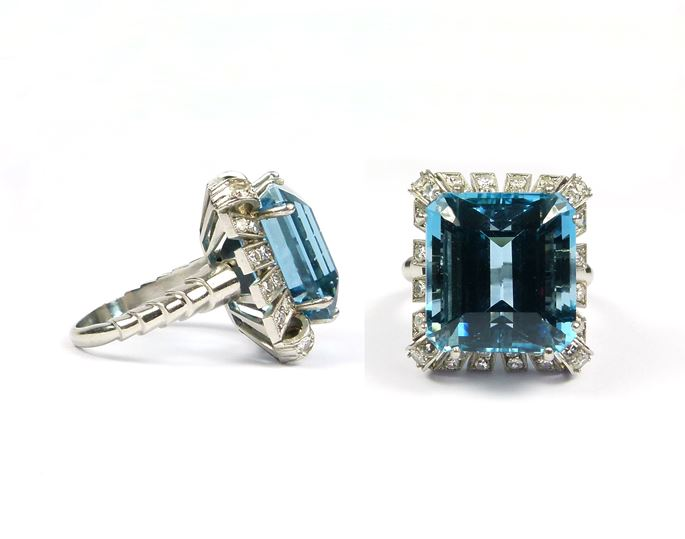 Aquamarine and diamond cluster ring | MasterArt