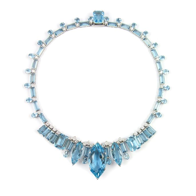 Aquamarine and diamond necklace with principal marquise cut aquamarine to the front | MasterArt