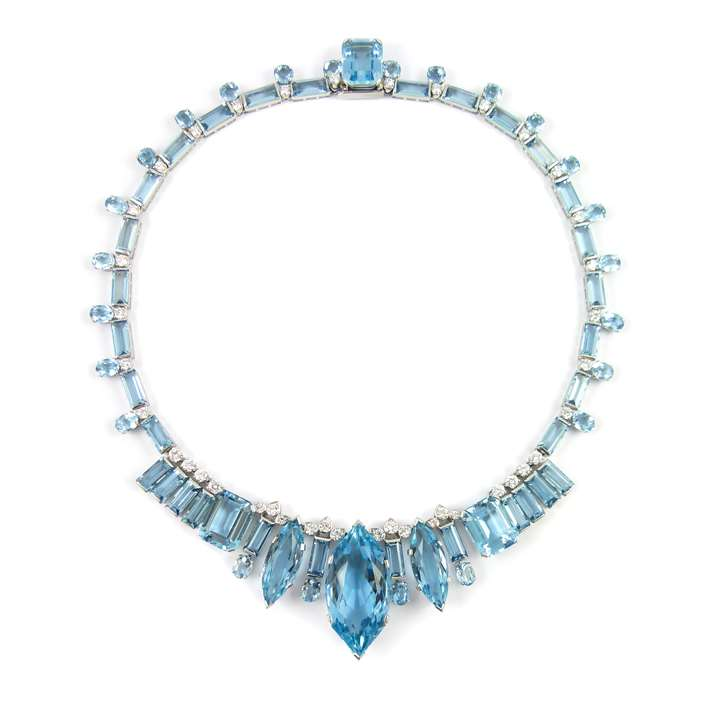 Aquamarine and diamond necklace with principal marquise cut aquamarine to the front