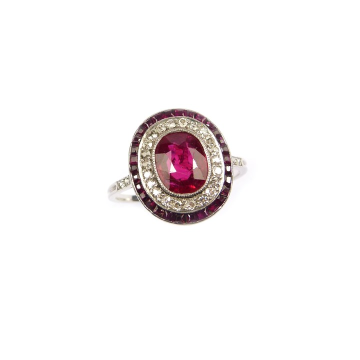 Art Deco Burma ruby and diamond cluster ring