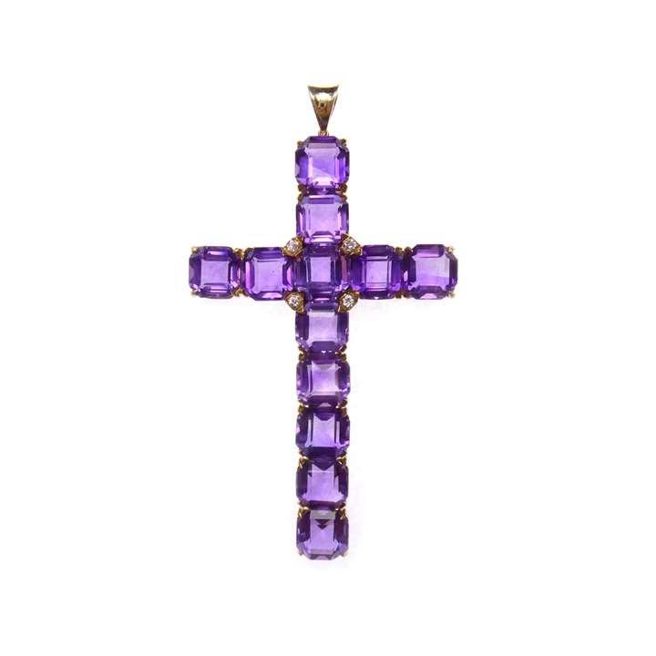 Art Deco amethyst and diamond cross