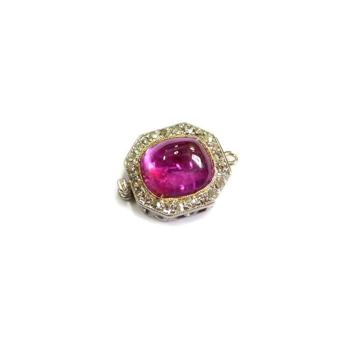 Art Deco cabochon ruby and diamond cluster clasp with fittings for a single row