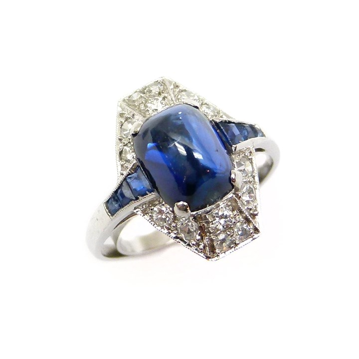 Art Deco cabochon sapphire and diamond cluster ring