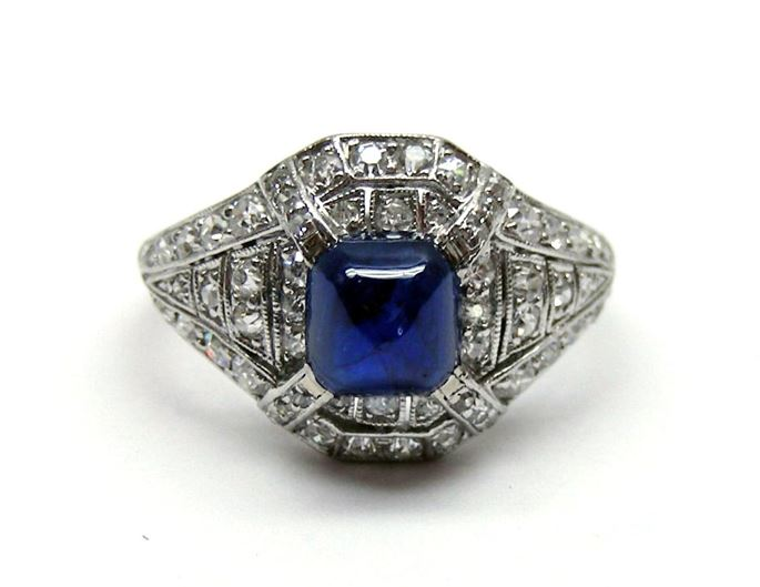 Art Deco cabochon sapphire and diamond ring, c.1915 | MasterArt