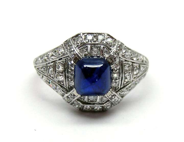 Art Deco cabochon sapphire and diamond ring, c.1915