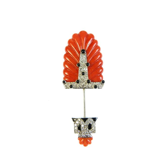 Cartier - Art Deco carved corallium rubrum, onyx, enamel and diamond jabot pin | MasterArt
