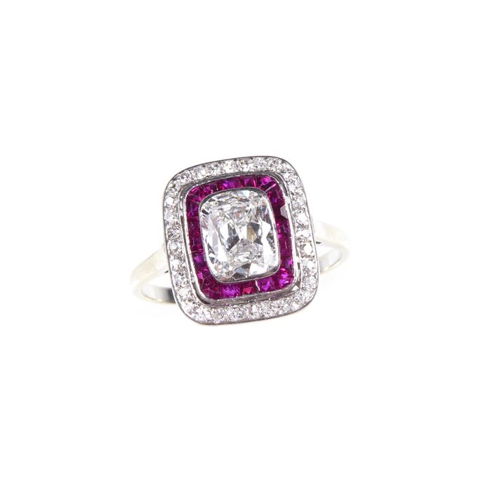Art Deco cushion cut diamond and ruby oblong cluster ring | MasterArt