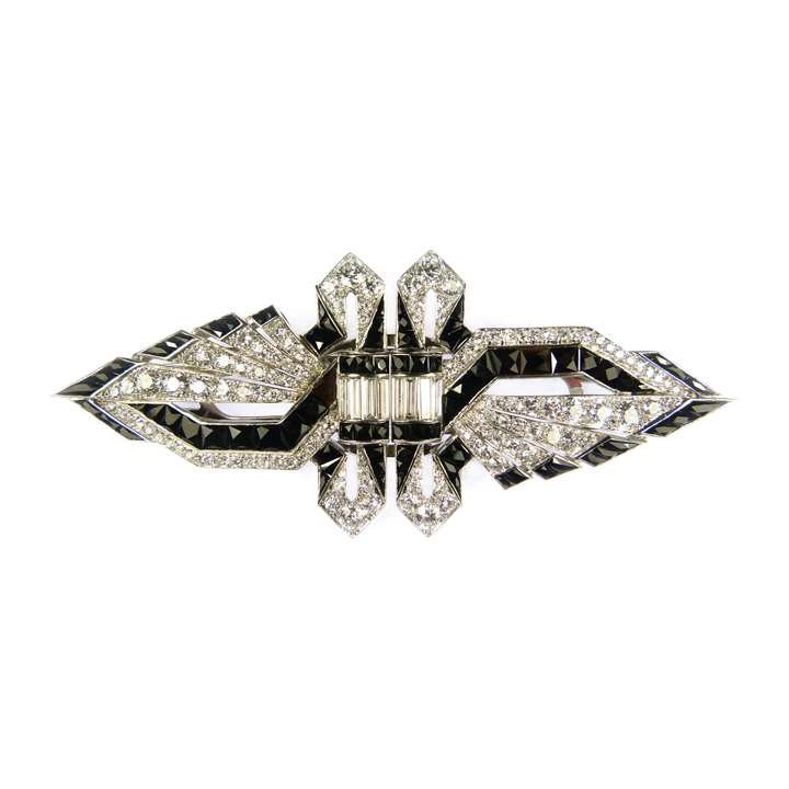 Art Deco diamond and onyx double clip brooch, of shaped lozenge outline