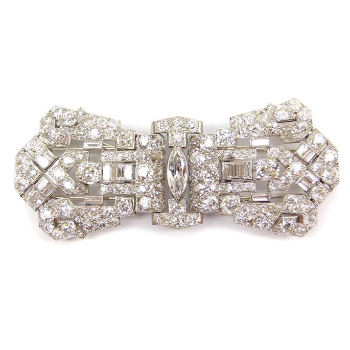 Art Deco diamond double clip brooch in the form of a stylised bow | MasterArt
