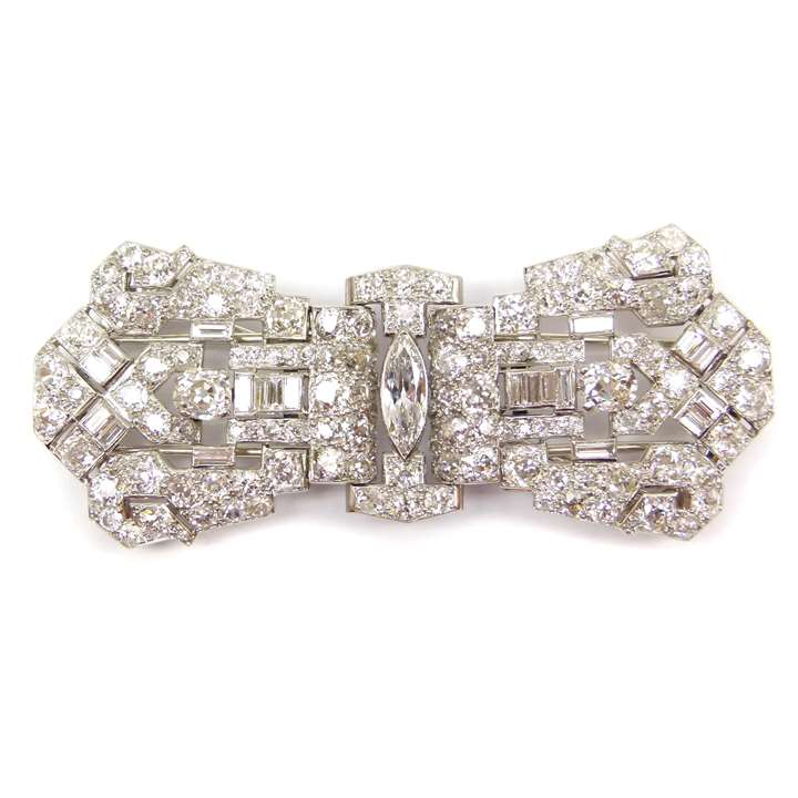 Art Deco diamond double clip brooch in the form of a stylised bow
