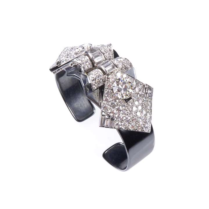 Art Deco diamond double clip brooch with bangle cuff fitting