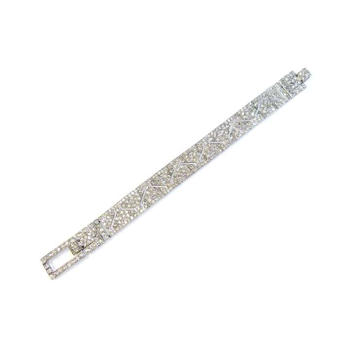 Art Deco diamond strap bracelet with pierced
