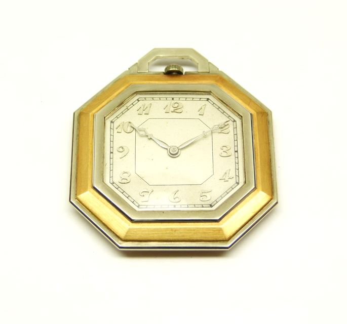Art Deco gold and platinum octagonal pocket watch | MasterArt