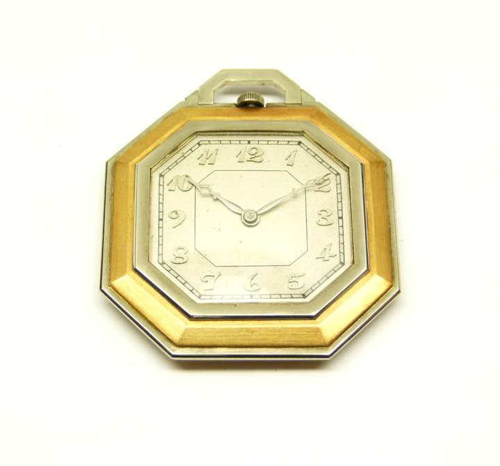 Art Deco gold and platinum octagonal pocket watch