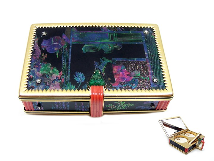 Art Deco lacquer, mother-of-pearl and diamond powder and lipstick box